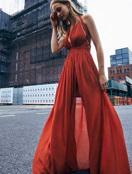Burgundy Maxi Dress Chiffon Halter V Neck Sleeveless Backless Slit Pleated Long Dress фото
