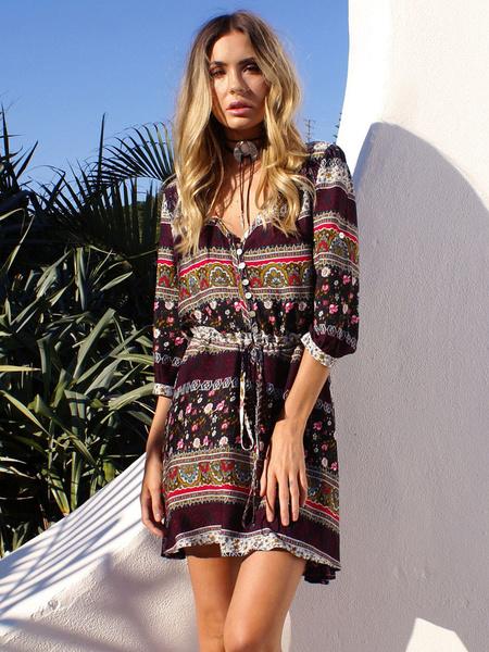 Bohemian Dress Printed V Neck Half Sleeve Short Beach Dress For Women фото