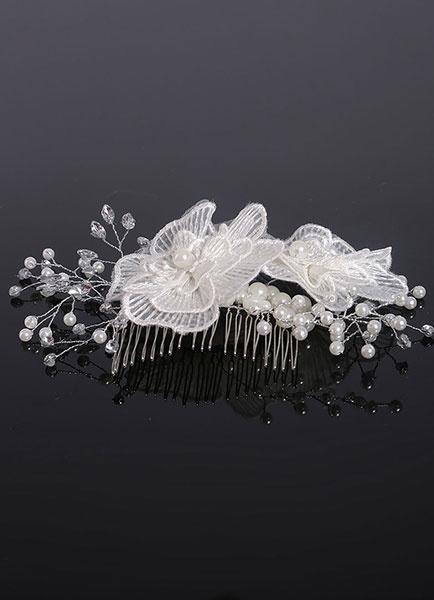 White Wedding Headpieces Flowers Pearls Rhinestones Bridal Comb фото