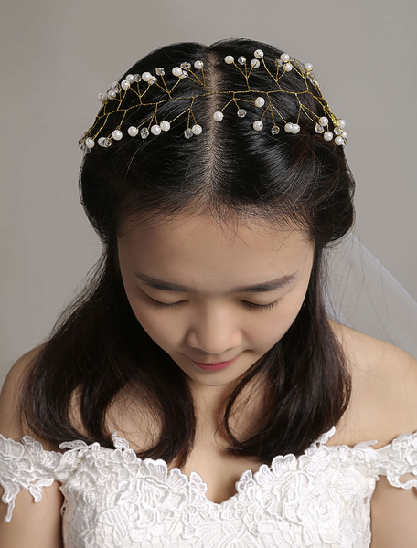 Gold Wedding Headband Pearls Rhinestone Lace Up Wedding Headpieces фото