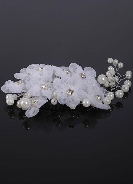 White Wedding Comb Flowers Pearls Rhinestone Bridal Headpieces фото