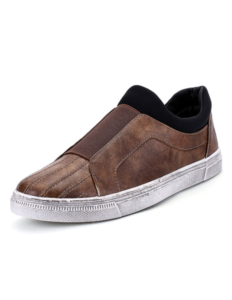 Brown Men's Loafers Distressed Slip On Flat Shoes фото
