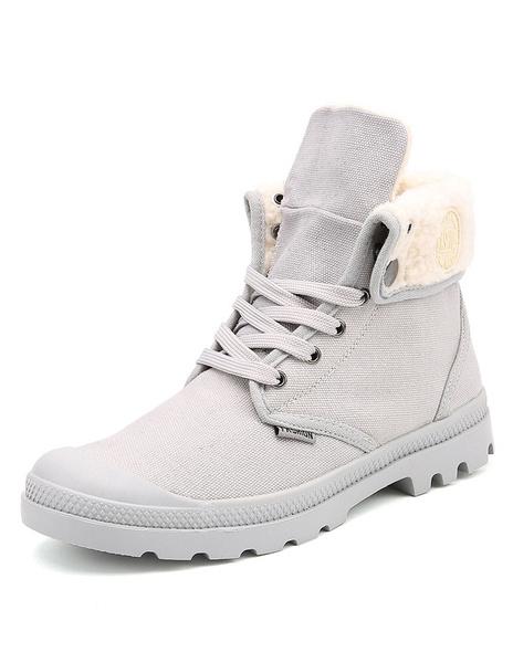 Ботинки серые мужские зашнуровать высокие верхние зимние сапоги из искусственного барашка