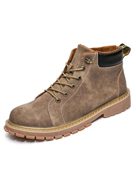 Мужские коричневые ботинки на шнуровке с потертой сшивание PU лоскутное зимние сапоги