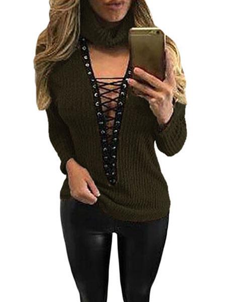 Женская пуловер свитер новый высокий воротник кружева вязать свитер