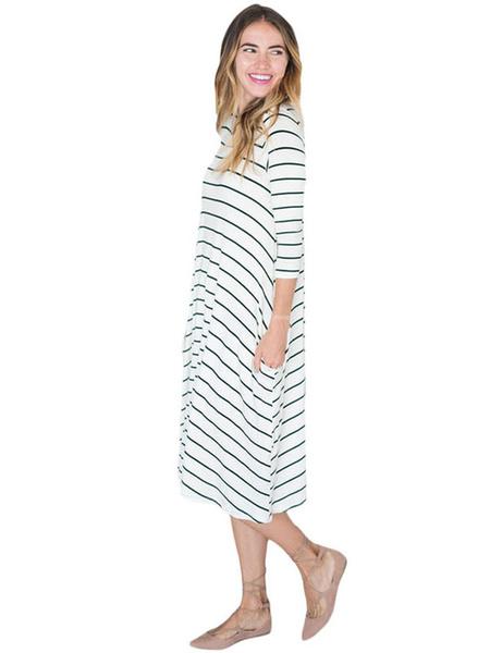 White Shift Dress Round Neck Long Sleeve Striped Long Dress For Women фото
