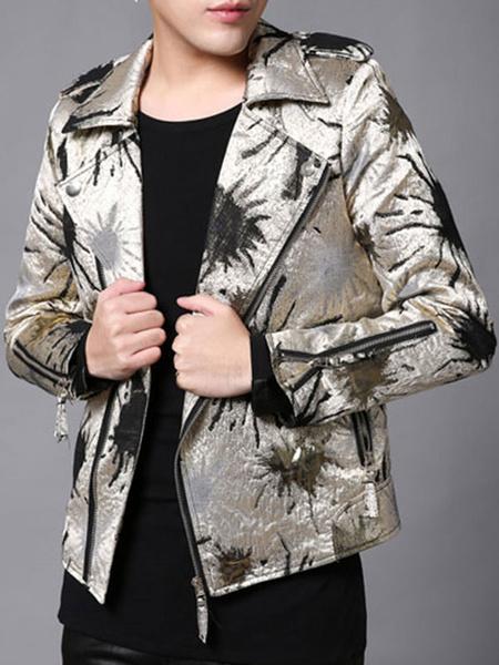 Men's White Jacket PU Turndown Collar Long Sleeve Printed Slim Fit Jacket фото