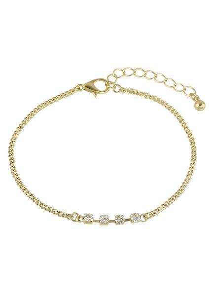 Gold Chain Bracelet Rhinestone Layered Alloy Clasp Bracelet фото
