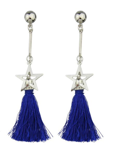 Fringe Dangle Earrings Blue Alloy Star Drop Earring