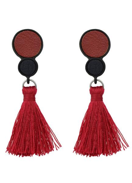 Red Drop Earrings Women's Alloy Dangle Earrings With Fringe фото
