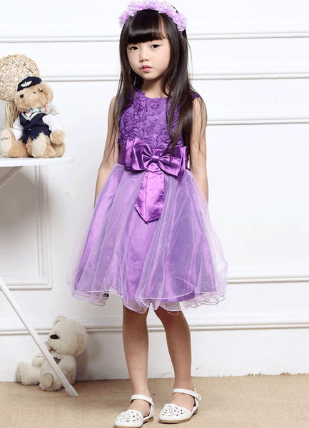 Flower Girl Dresses Plum Knee Length Pageant Dress Toddlers' Sleeveless A Line Dinner Dress With Bow