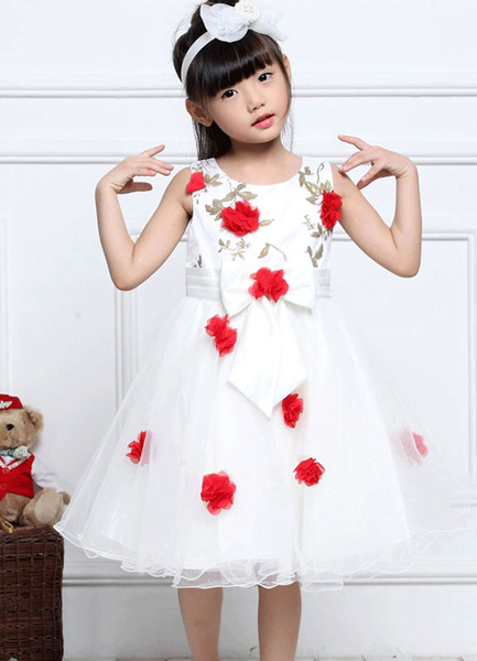 Tulle Flower Girl Dresses Red 3D Flowers Embroidered Pageant Dress Toddlers' Sleeveless Bow A Line K