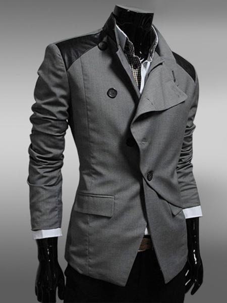 Black Men's Jacket Long Sleeve Oblique Button Patchwork Casual Suit Jacket фото