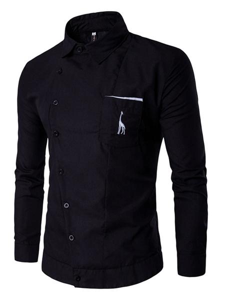 Black Men's Shirt Oblique Button Long Sleeve Casual Shirt With Logo фото