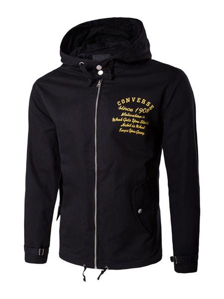 Schwarze Herren Jacke Kordelzug Kapuze gedruckt Langarm Zip Manschette Armband Windbreaker Jacke