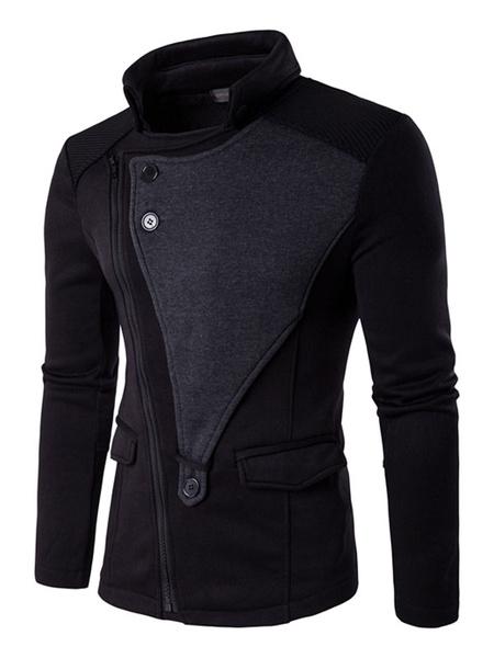 Men's Black Hoodie High Collar Oblique Zipper Contrast Color Casual Zip Up Jacket фото