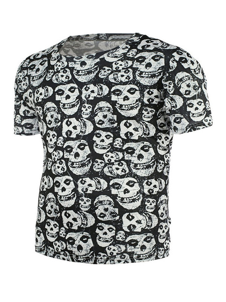 Men's Black T Shirt Round Neck Short Sleeve Skull Printed Casual T Shirt фото