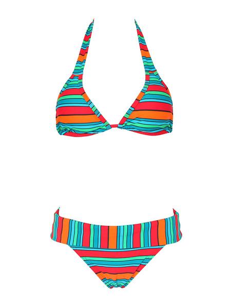 Floral Bikini Set Halter Women's Multicolor Striped Wireless Beach Swimwear фото