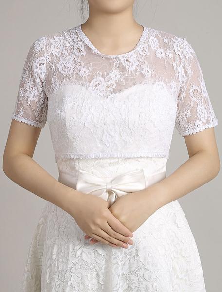 Veste Top blanc à manches courtes Shrug glissière au dos nuptiale récolte haut de mariage en dentell