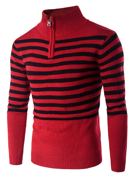 Red Pullover Sweater Men's Striped High Collar Long Sleeve Slim Fit Cotton Sweater