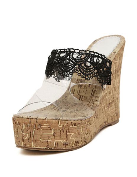 Танкетка сабо с открытым носком кружева лоскутное обувь из ПВХ для женщин