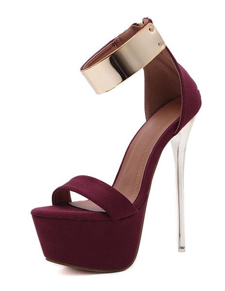 Sandales sexy 2021 s Sandales talons hauts Plateforme Dtails mtalliques Chaussures bride cheville - Milanoo FR - Modalova