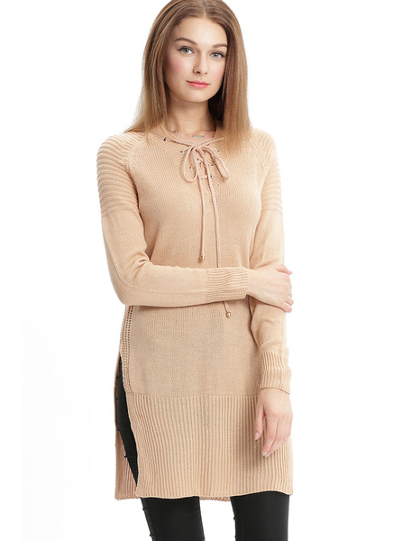 Apricot Sweater Dress V Neck Long Sleeve Lace Up Slit Knit Short Dress For Women фото