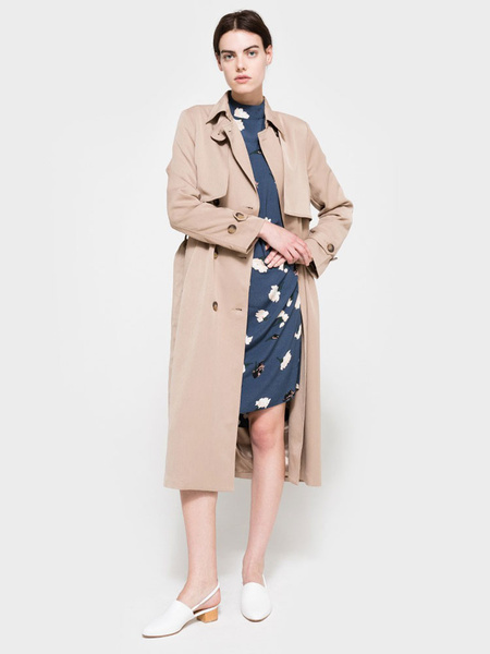 Khaki Trench Coat Women's Double Breasted Long Sleeve Wrap Coat