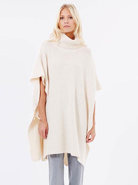 Женская пуловер свитер высокий воротник с разрезом сбоку Кружевной экрю Белый пончо свитер