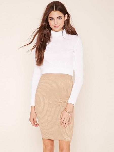 Khaki Women's Skirt Bodycon Knit Pencil Skirt