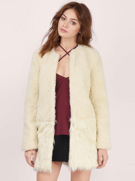 Manteau d'hiver de la fausse fourrure manteau femme abricot manches longues
