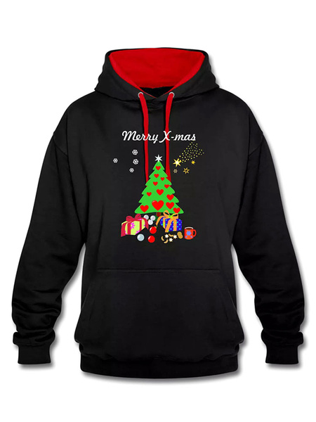 Black Christmas Hoodie Women's Printed Cotton Hooded Sweatshirt