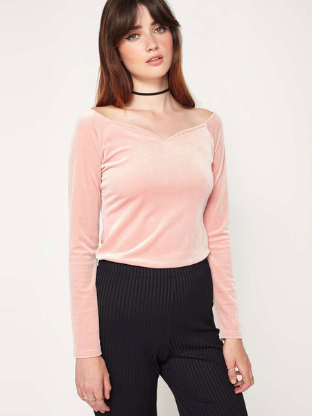 Long Sleeve T Shirt Pink V Neck Solid Color Casual Top фото