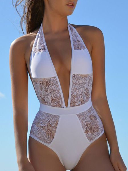 Sexy One Piece Swimsuit White Halter Plunging Neckline Lace Semi-Sheer Slim Fit Beach Swimwear