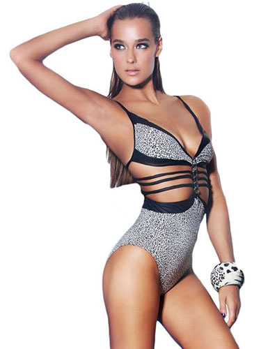 Sexy One Piece Swimsuit Leopard Printed Strappy Sleeveless Cut Out Backless Monokini Swimwear