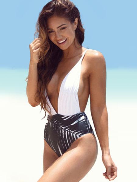 Ein Stück Sexy Badeanzug zwei Ton stürzen Halsausschnitt überqueren wieder gedruckt Monokini Bademod