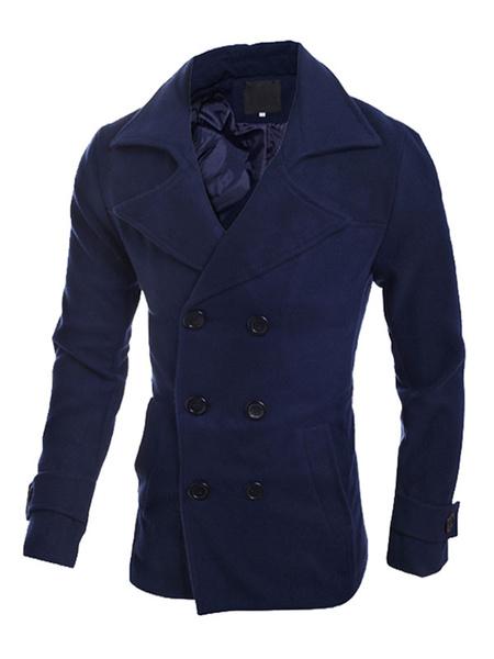 Herren Pea Coat Dark Navy Double Breasted Center Vent Manschette Armband ausgekleidet lässige Mantel