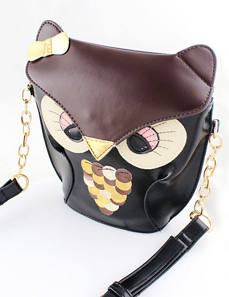 Black Shoulder Bag Animal Pattern Faux Leather Chain Single Strap Cute Bag For Girl фото