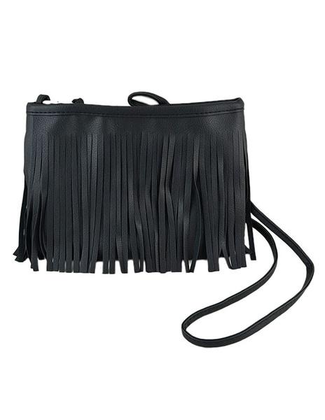 Fringe Shoulder Bag Black Single Strap Crossbody Bag For Girl фото