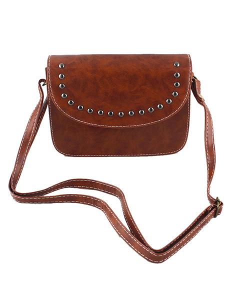 Sac à bandoulière Bourgogne Rivet Faux cuir carré sac de mode pour femmes