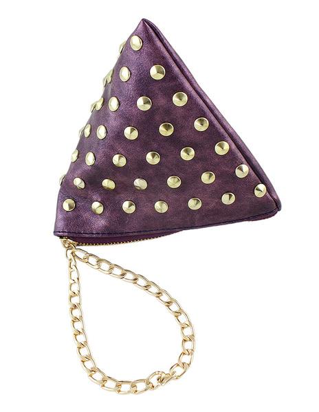 Green Mini Clutch Bag PU Leather Triangle Bag Fashion Rivet Chain Women Bag Purse (usa42545952) photo