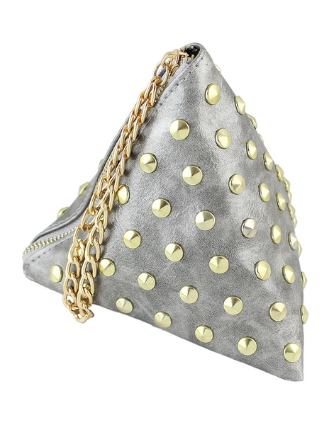 Green Mini Clutch Bag PU Leather Triangle Bag Fashion Rivet Chain Women Bag Purse (usa40166707) photo