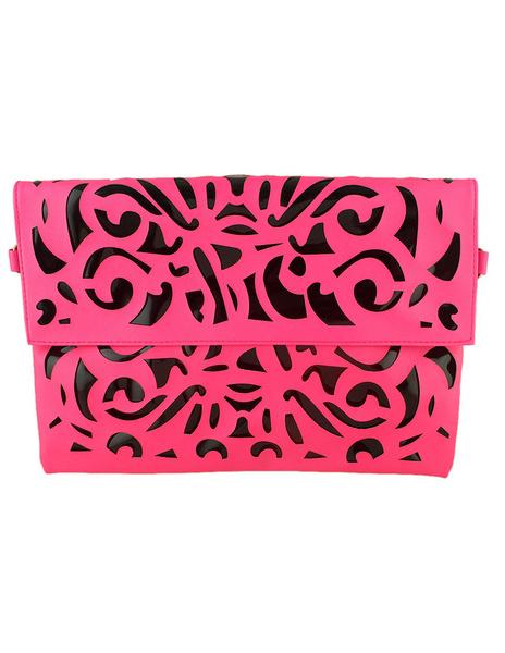 Sac à bandoulière rose rouge en relief simili-cuir embrayage sac pour fille
