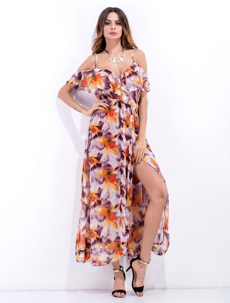 Mousseline de soie robe Maxi volants imprimé Floral pourpre Strappy fente plissée robe longue