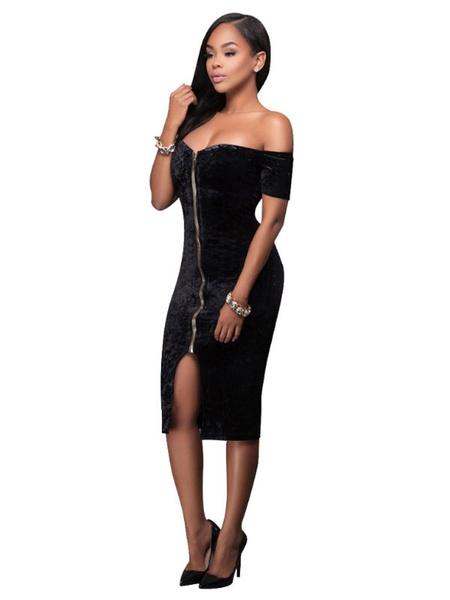 Milanoo / Terciopelo sexy Bodycon vestido fuera del hombro de manga corta Slim ajuste cremallera vestido