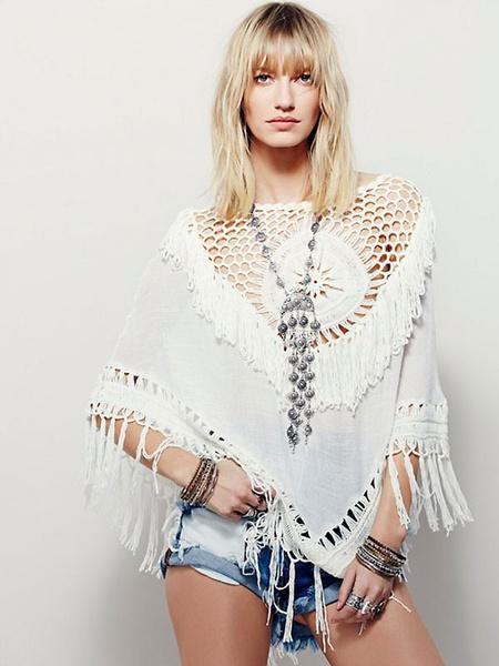 White Cover Ups Women's Round Neck Crochet Cut Out Irregular Cotton Swimwear фото