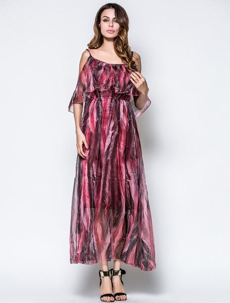 Chiffon Maxi Dress Burgundy Strappy Pleated Printed Long Dress фото