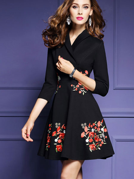 V Neck Black Dress Flowers Embroidered Women's 3/4 Sleeve A Line Fit And Flare Skater Dress фото