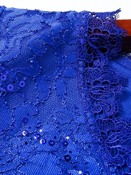 Milanoo / De encaje bodycon vestido azul con cuentas vestido de mujer manga 3/4 V cuello