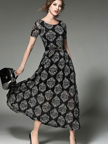 Black Maxi Dress Floral Printed Women's Short Sleeve Round Neck Pleated Long Dress With Belt фото